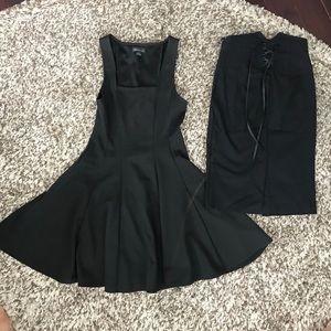 Black flowy dress XS and high waisted skirt XS